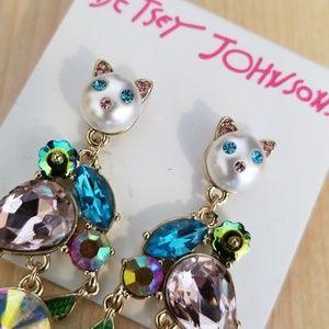 Betsey Johnson long cat earrings